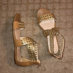 nine west gold gladiator caged sandals
